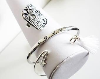 Ensemble de 2 bracelets joncs tendance Kawaii + 1 Bague ajustable - Bracelets joncs - Bague fleur - Bracelet couleur argent - Bracelet