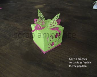box dragees for baptism, birth, customizable, butterflies, candy box