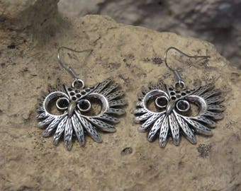 """Silver earrings """"collection OWL head"""""""