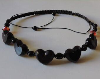 Necklace, black hearts on macrame
