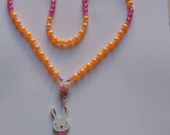 The White Rabbit pink kids necklace