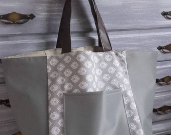 Large gray coated canvas and faux leather tote
