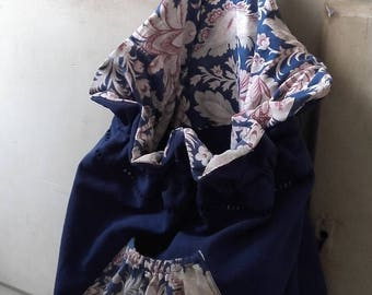 Cobalt blue cotton laundry bag and floral vintage fabric