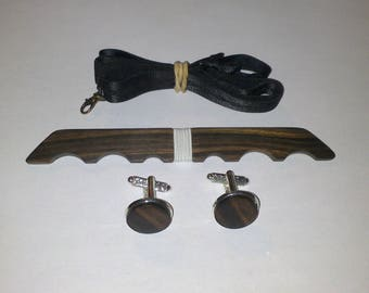 Bow tie set + Macassar ebony wood cuff links