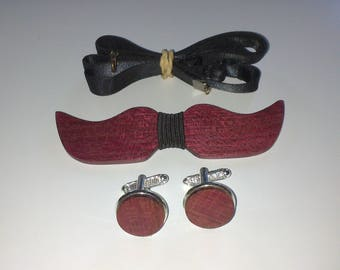 Bow tie set + purplewood cufflinks