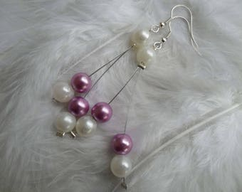 Wedding Pearl Earrings Pearl White and lilac