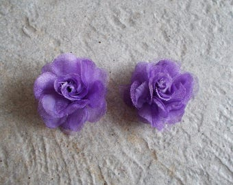 1 set of 2 beautiful beads in purple organza fabric