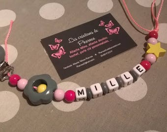 Personalized with name flower pacifier pacifier gray yellow fuchsia and light pink star