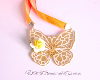 Coral and yellow tie or hanging, Butterfly Necklace