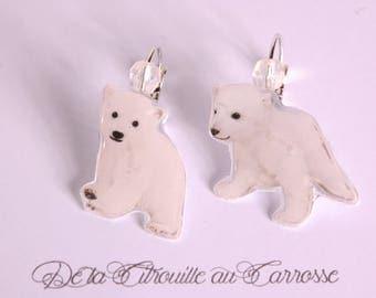 Bear fleece, white Stud Earrings