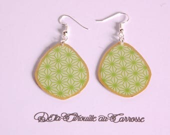 Japanese motif, green and gold earrings