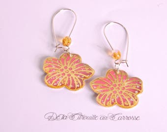 Gold and Pink Flower Earrings