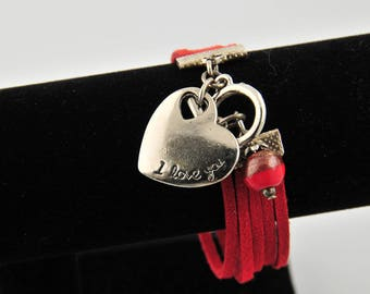 Red suede heart and pearl bracelet