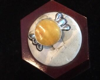 Cast lemon amber ring