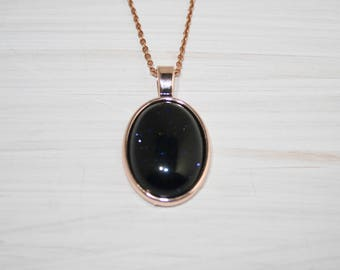 Blue Sandstone Necklace, Rose gold setting and chain