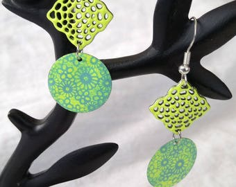 Yellow and turquoise floral earrings 925 Silver hooks