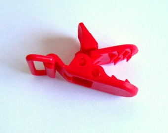 Red resin, red Alligator Clip pacifier clip