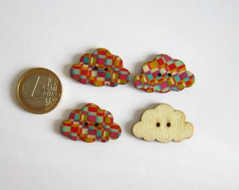 4 flat cloud multicolor checkered pattern 2 hole buttons