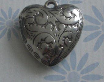 Antique silver pendant heart shape