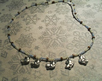 trendy, colorful, original Necklace (blue, white and Brown)