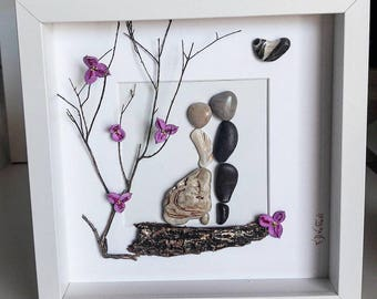 Pebble Art, Wedding Gift, Couple, Love Gift, Anniversary Gift, Home Decor, Pebble Picture
