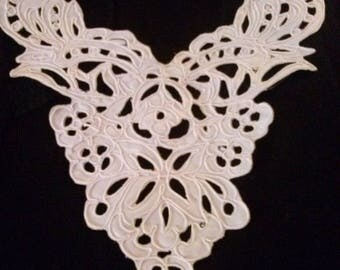 Satin embroidered white bib