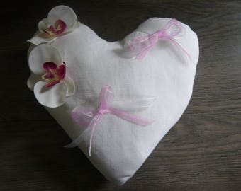 White and pink heart ring bearer pillow