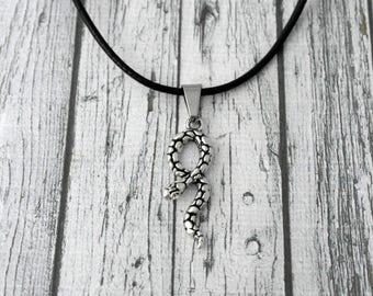 Jewelry men necklace black leather, snake, Christmas gift idea pendant