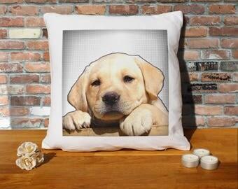 Labrador Retriever Dog Puppy Pillow Cushion - 16x16in - White