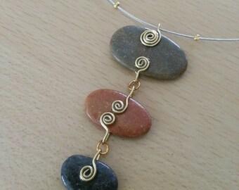 Original pendant necklace, Pebble natural rich Golden decorations