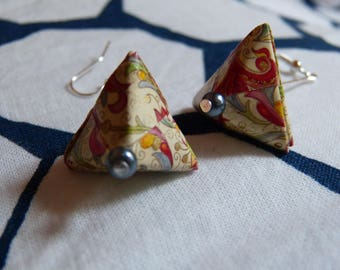 Origami berlingots multicolored scrollwork earrings