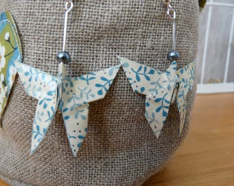 Origami Butterfly printed paper leaves of olive, blue and white earrings
