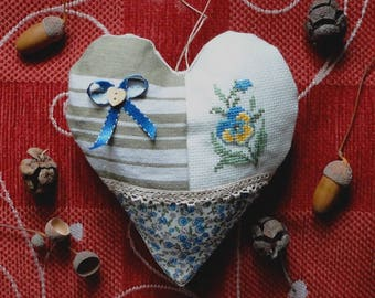 Heart cushion shabby hanging with embroidery, ticking, old cloth, cross stitch embroidery