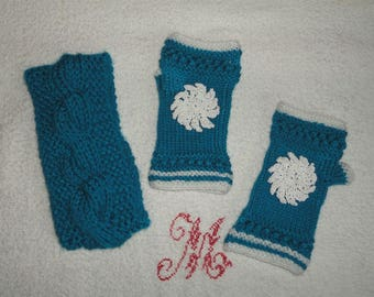 Turquoise fingerless gloves and headband hand knitted women set