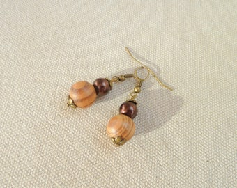 Earrings wooden beads and pearls