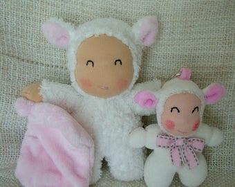 Plush Twins poupidou sheep and her twin keychain