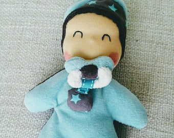 """Doudou """"titpoupidou"""" Ding-Dong magnetic baby blue and Brown to order"""