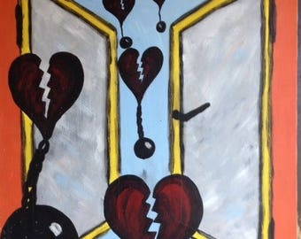 Acrylic painting, broken hearts
