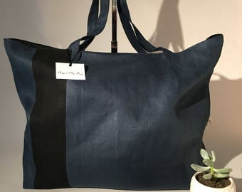 Angie reversible 100% linen French red tote bag ' she Mya