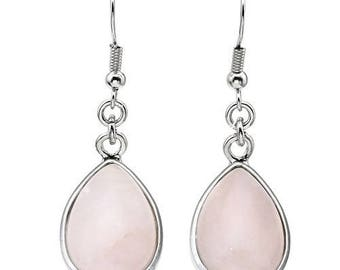Earrings dangle drop silver plated - rose quartz