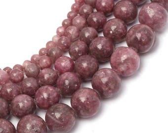 Pink tourmaline (rubellite) 4 x 20 mm round bead