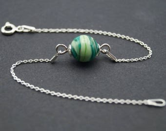 Bracelet with silver Pearl spun glass Lampwork green and transparent bracelet chains - A170