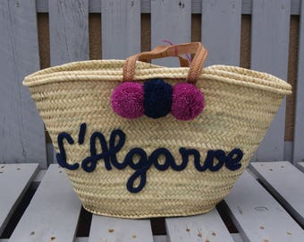 Personalized Tote with drawing in knitting and PomPoms