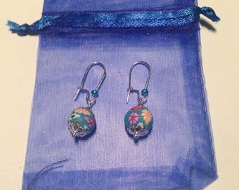 Colorful polymer clay beads earrings