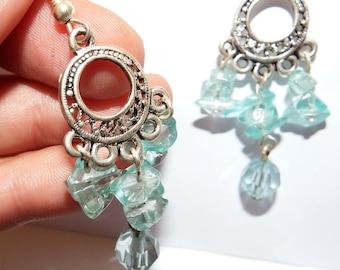 dangle earrings with topaz stone