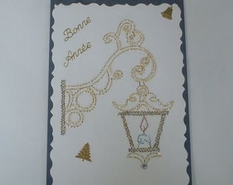 4 - Happy new year Lantern embroidered greeting card
