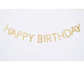 birthday banner, happy birthday sign, gold birthday banner, happy birthday, glitter banner, birthday bunting, birthday banner gold
