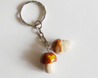 """Keychain """"Duo of little mushrooms"""" Brown and gold, made of polymer clay, mother's day, celebrate fathers day, creating"""
