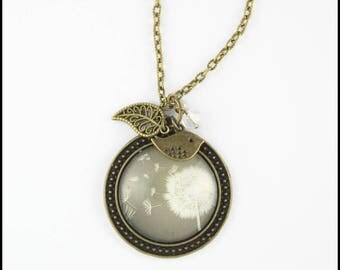 2 white dandelion on a gray background pendant necklace