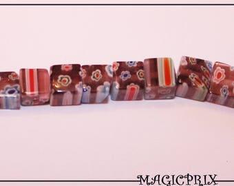 Set of 60 beads Cube glass Millefiori purple & multicolor 6 x 6 mm m2186